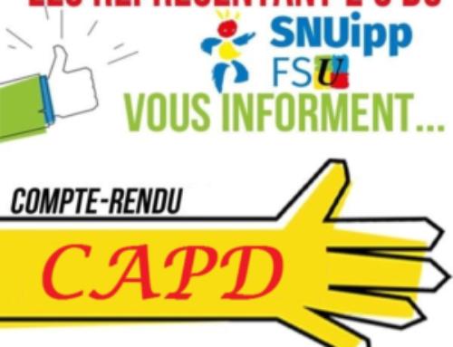CAPD restreinte du 8 juillet : classe exceptionnelle 2020