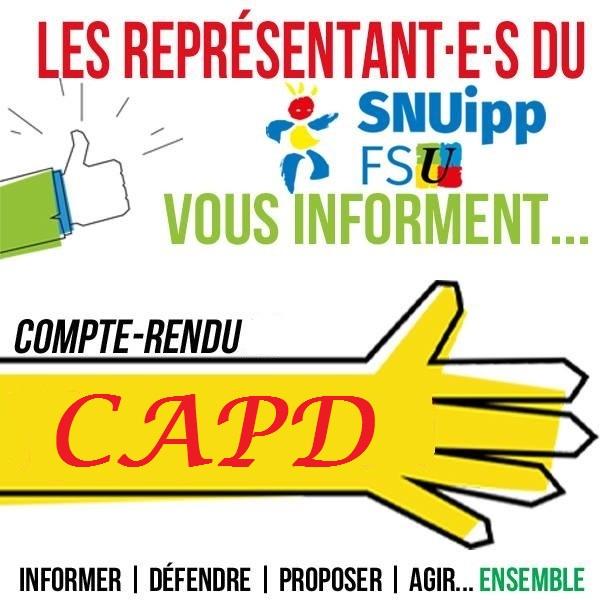 CAPD du 6 mai : promotions accélérées, temps partiels, berceaux stagiaires …